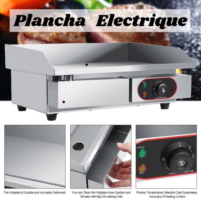 XIX Plancha Electrique Lisse (60,5 x 48,5 x 21,5 cm, 2200W) Usage Commerciale