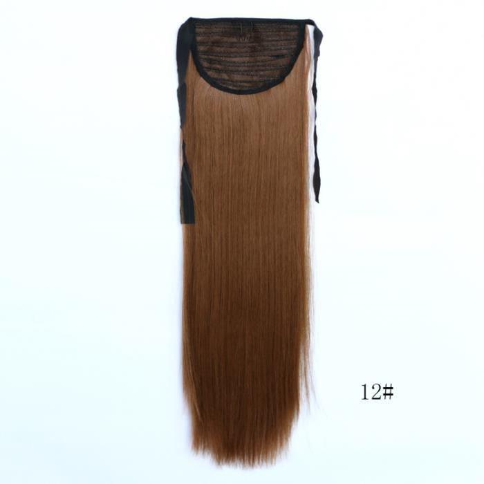 Brun moyen # 12 24 pouces 60 cm 90g Fashion Ribbon Ponytail Postiches Longue ligne droite Synthétique Ponytail Hair Extension