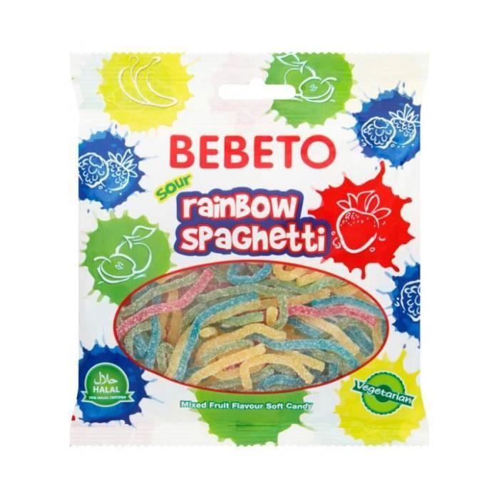 Livre Bonbons Rainbow Spaghetti - Goût Mix - Végétarien - Bebeto - Halal - Sachet 80gr Bleu