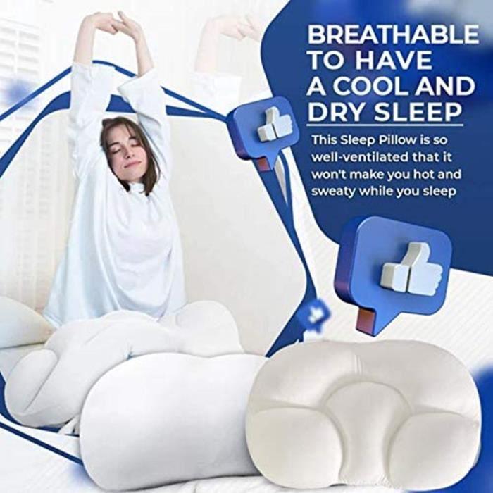 Oreiller de Sommeil Polyvalent Oreiller de sommeil rapide Oreiller ergonomique Contre les douleurs de la nuque Lavable en machine