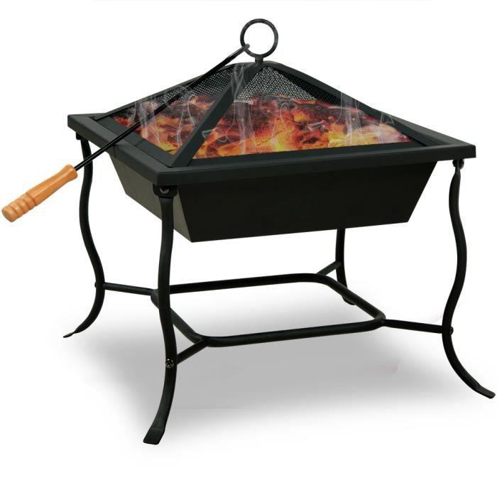 Deuba - Brasero de Jardin • carré 45x45 cm • Acier Noir • avec Couvercle - Barbecue, Brasier, extérieur, cheminée