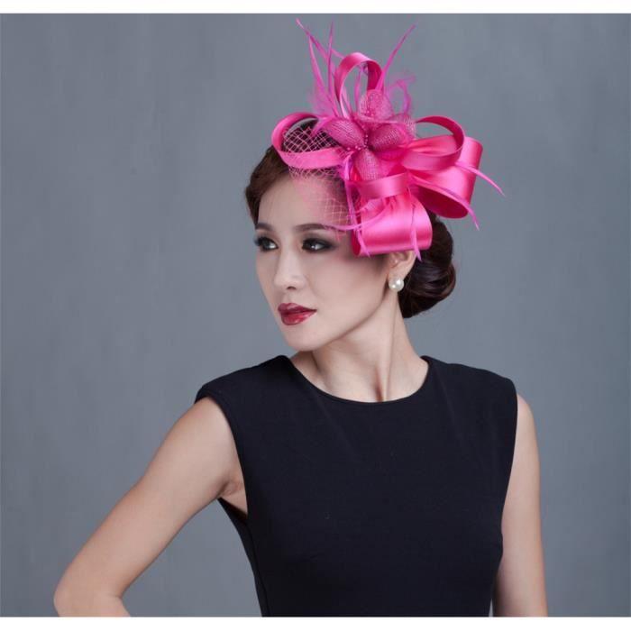 Red rose -Chapeau de Cocktail Chic pour femmes, couvre chef d'église, de mariage, à la mode, accessoires de cheveux formels pour