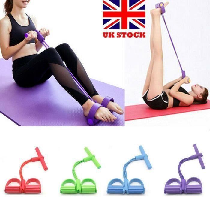Fitness Gum 4 Tube Bandes de résistance Latex Pédale Exerciseur Sit-up Pull Rope Expander Bandes élastiques Équipement de yoga vert