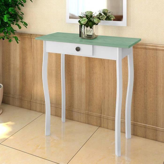 2968OK® Console vintage - Table console Table d'appoint Armoire console Table de Salon MDF Blanc et vert grisâtre