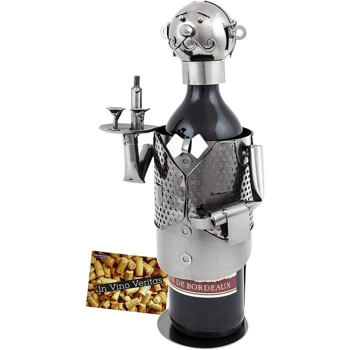 COFFRET CADEAU VIN BRUBAKER Porte-bouteille de vin - Serveur-Sommelier - M&eacutetal - Carte de v&oeligux incluse - Id&eacute152