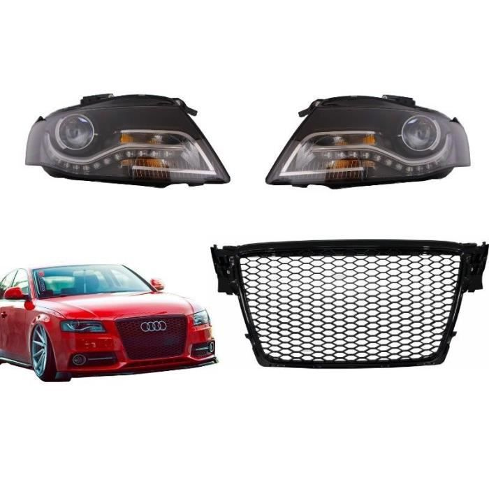 Grille Calandre Avant Nid d'abeilles RS Look Brillant Noir Phares LED Feux de Jour Noir Pour Audi A4 B8 07-12