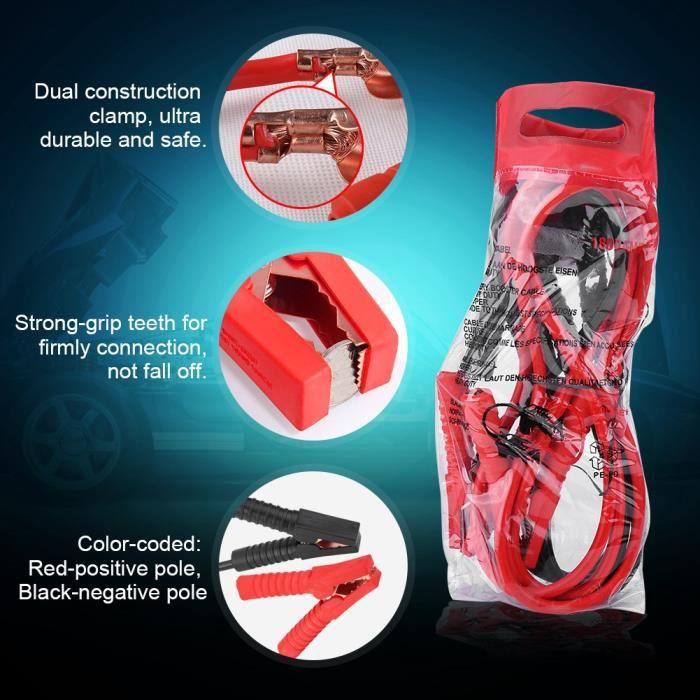 Qiilu Câbles de Démarrage 1800A 3 mètre / 10ft Heavy Duty voiture Power Booster câble batterie d'urgence Jumper Cables