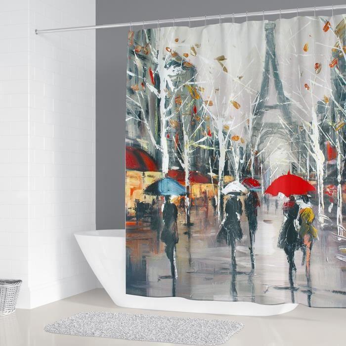 Accessoires salle de bain,Haute qualité impression 3d rideaux de douche Paris tour rideau de bain imperméable - Type F - 180*200 cm
