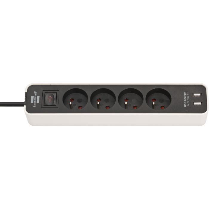 Brennenstuhl Multiprise ECOLOR Blanche, 4 prises + 2 prises USB, avec 1,5m de câble