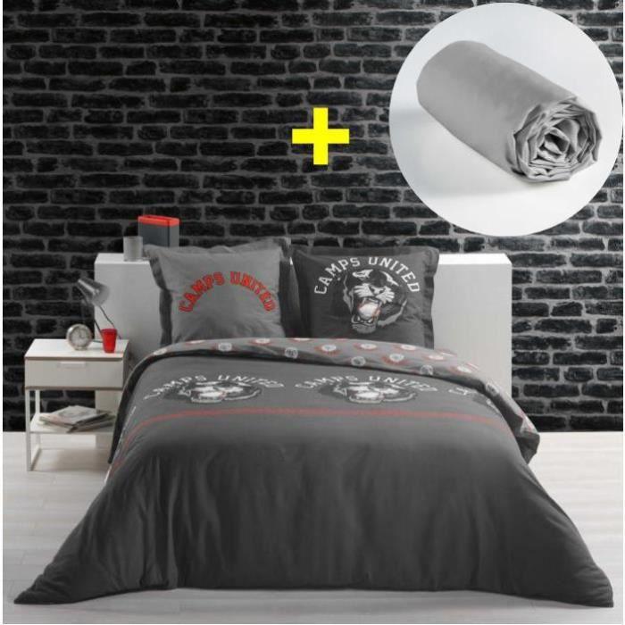 CDaffaires Pack parure de couette 220x240 cm 100% coton Panther + drap housse 140x190 cm Gris