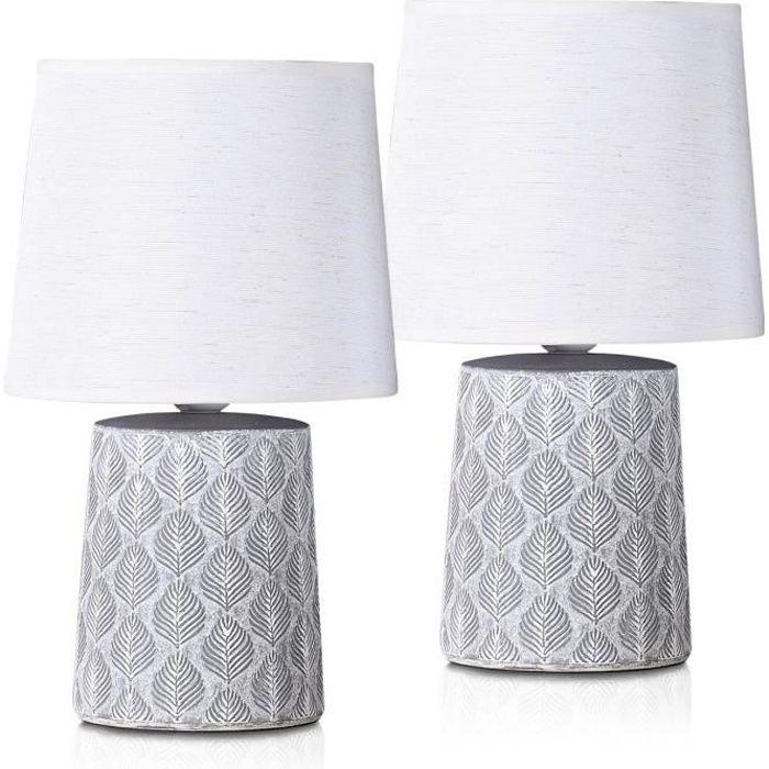 BRUBAKER - Lampe de table/de chevet - Lot de 2 - Design scandinave/moderne - Hauteur 33 cm - Pied en Céramique/Gris