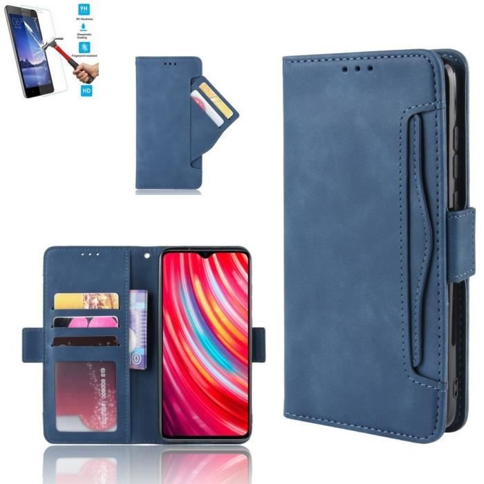 Etui Samsung Galaxy A41 Portefeuille Bleu + Film Verre Trempé Coque Housse En Cuir Pu - 5 Emplacement Carte hfs-house®