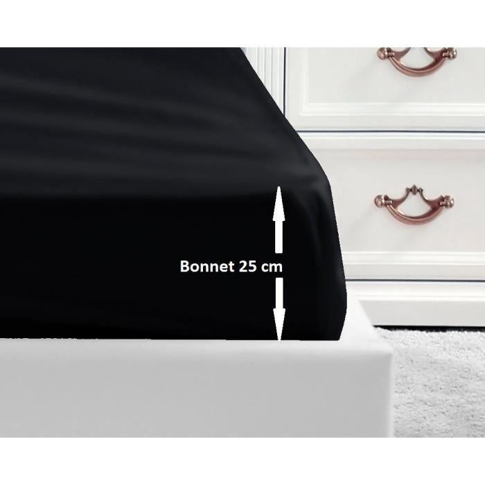 LOVELY HOME Drap Housse 100% coton 180x200x25 cm - Noir
