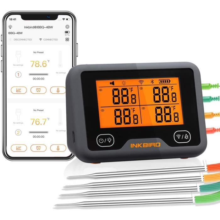 Thermomètre Wifi & Bluetooth pour Barbecue, de Cuisson Rechargeable, Double Signal et Alarme Thermometre Viande, IBBQ-4BW INKBIRD