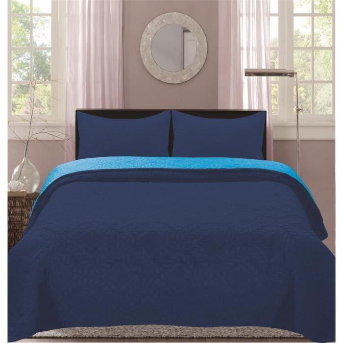 Boutis Bicolor 2 places 220 x 240 cm  - Bleu- Turquoise