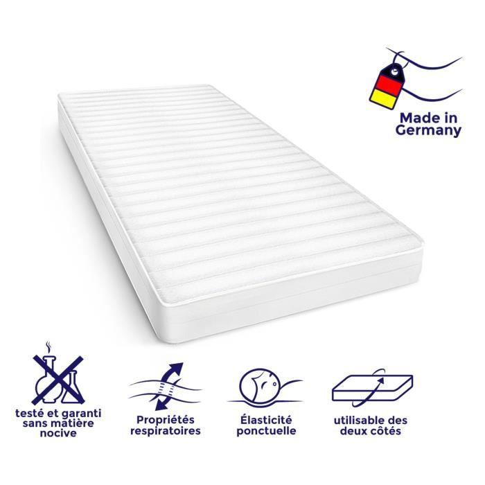 Matelas 90x190 cm matelas tout type de lits confort housse amovible matelas anti-acarien, épaisseur 15 cm