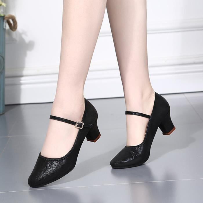 Des Sandales Mode Féminine Danse Rumba Valse Bal Salle De Latine Salsa Chaussures Simples Noir