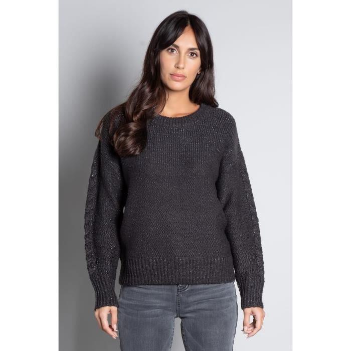 DEELUXE Pull tricoté avec lurex ANGELLE Dark Grey Mel Lurex