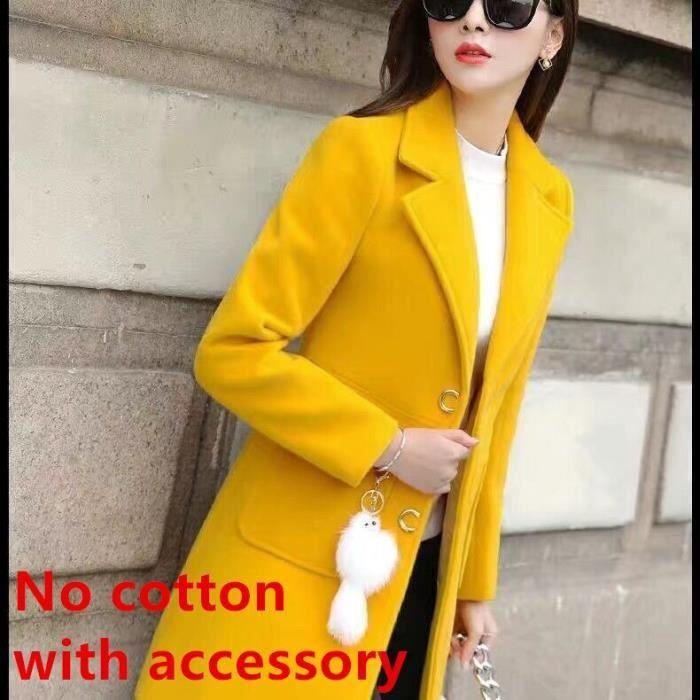 Manteau,Femmes printemps et automne manteau manteau de laine mince avec-pas d'accessoires manteau d'hiver femmes - Type yellow