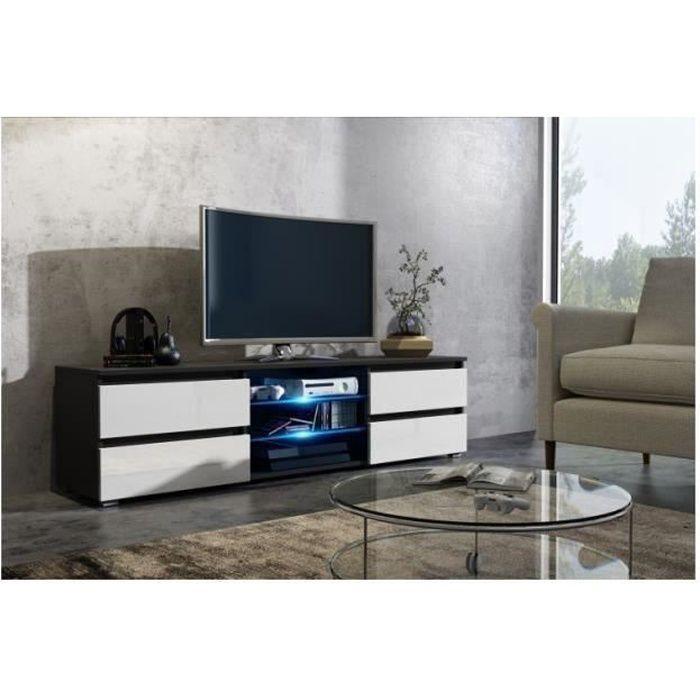 Meuble tv 150 cm noir et blanc mat