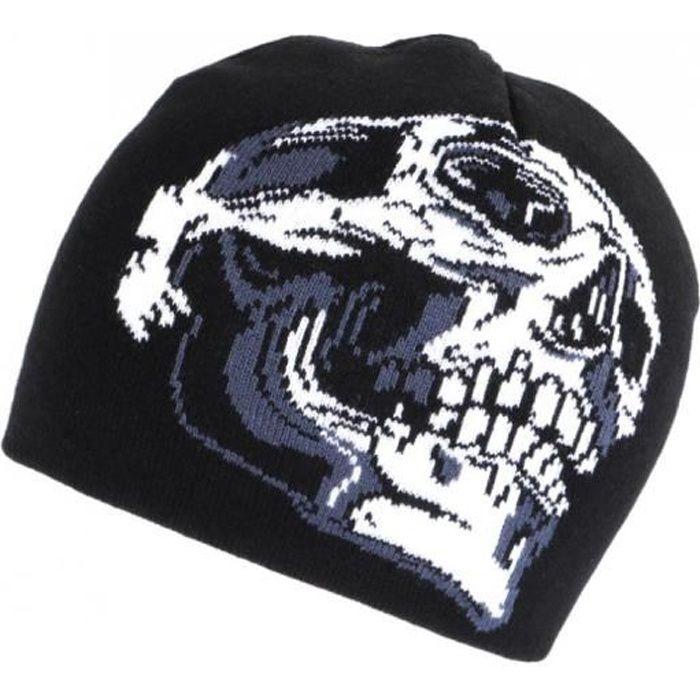 Bonnet Motard Tete de Mort Noir et Blanc Laine Biker Fashion - Taille unique - Noir