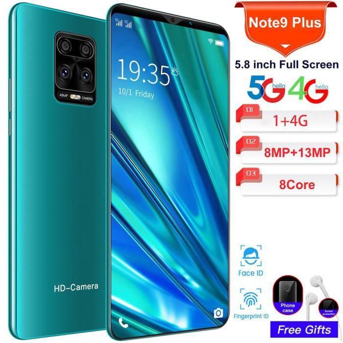 NOTE9 Smartphone Android 5.8- grand écran 1G + 4G - double SIM carte - Face ID + Empreintes Digitales - vert