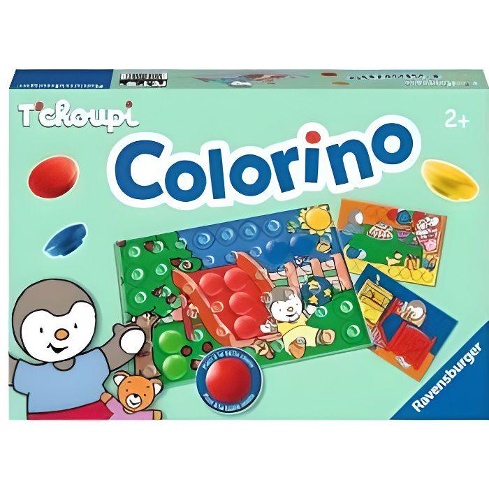 Colorino Le Jeu des Couleurs avec Tchoupi : 4 scenes, 31 pions colores, 1 grille - Jeu educatif enfant - Des 2 ans