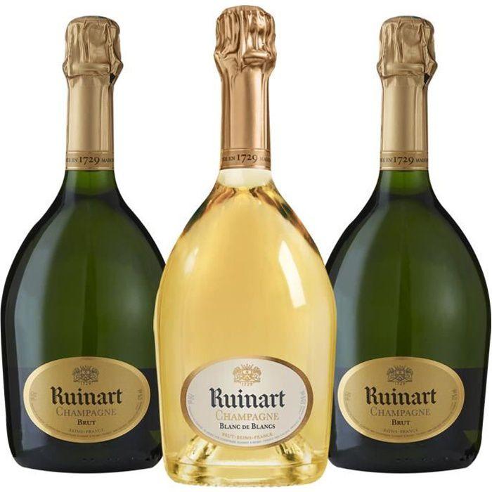 Champagne - Lot de 3 bouteilles Champagne Ruinart - 2 R de Ruinart Brut - 1 Ruinart Blanc de Blancs - 3x75cl