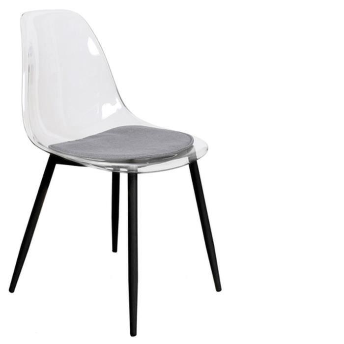 Chaise design transparent Lilia - Noir