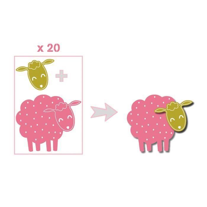 TOGA Pack de 20 Formes découpées Moutons - Rose, vert et taupe