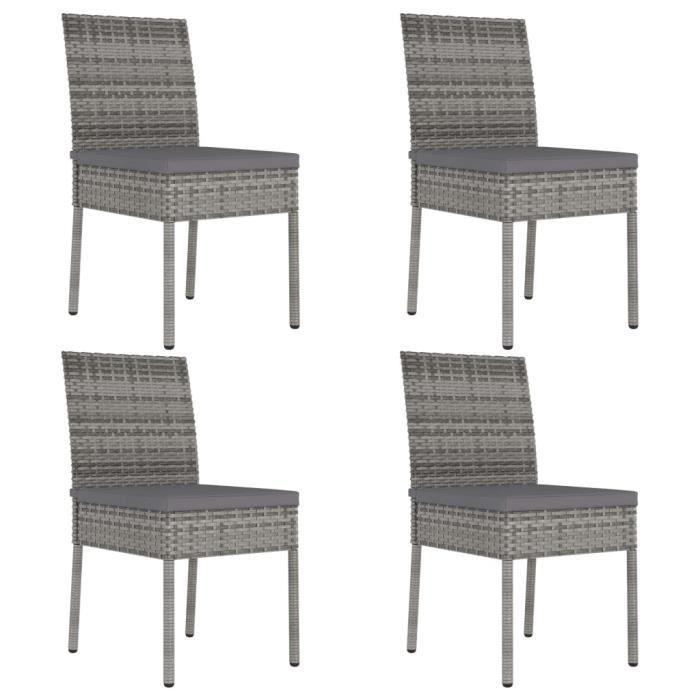 Chaises de salle à manger de jardin 4 pcs Résine tressée Gris A315109 HB021