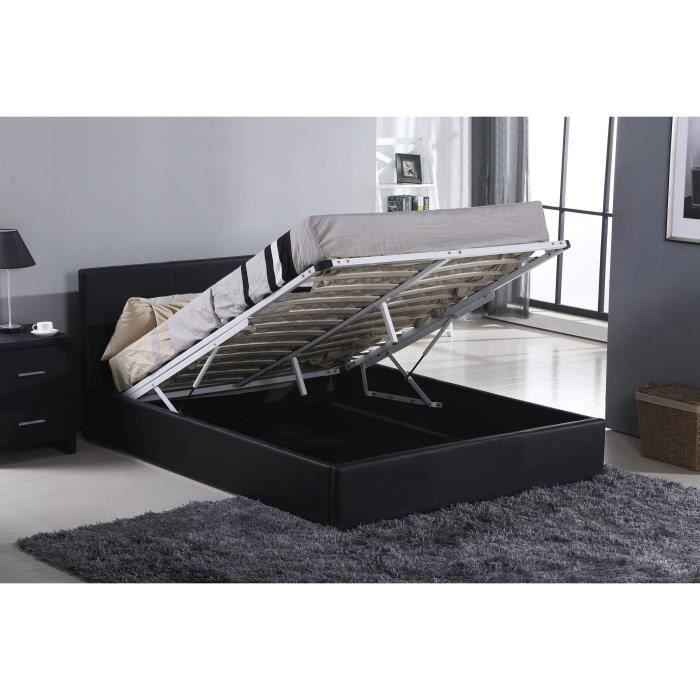 beautiful altess lit coffre adulte sommier relevable en simili noir l x l  cm with lit sommier relevable 0d64c6505b16