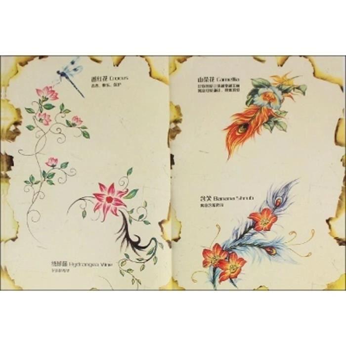 Tatouages Fleur Manuscrit Livre Femme Dessin Rose Pivoine Couverture Modele Vert Produit Peche Tattoo Pochoir Livres De Broderie Achat Vente Kit Tatouage Tatouages Fleur Manuscrit L Cdiscount