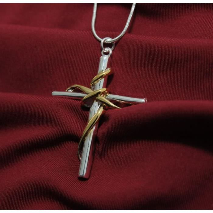 SAUTOIR ET COLLIER Collier Pendentif Croix Jésus argent 925 + Chaîne