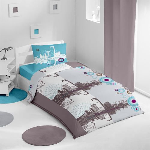 housse de couette et une taie urban turquoise achat. Black Bedroom Furniture Sets. Home Design Ideas