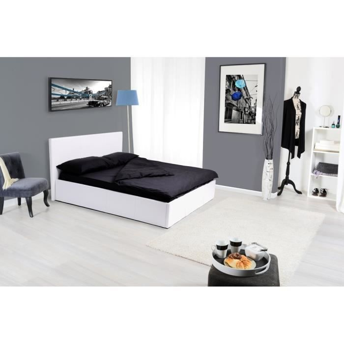 lit coffre 140 x 190 cm kenny achat vente structure de lit lit coffre 140 x 190 cm kenny. Black Bedroom Furniture Sets. Home Design Ideas