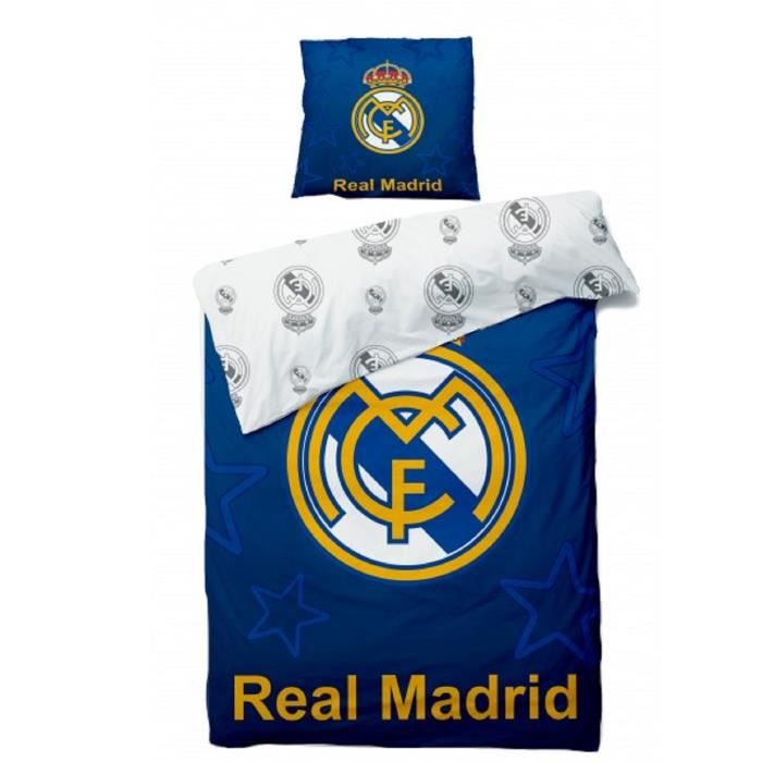Officiel Real Madrid Football Club Bleu Pulse Réversible Simple Ensemble De Couette