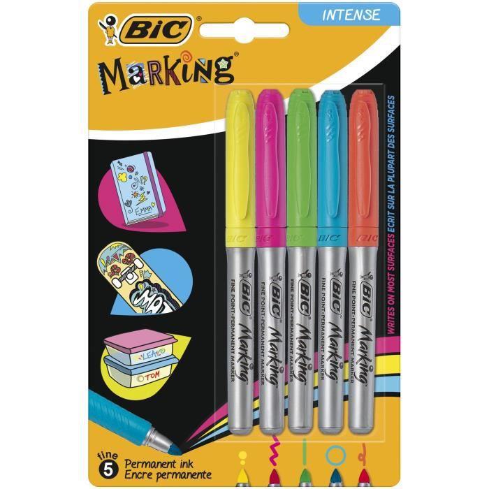 lot de 12 Marqueurs permanents BIC en plusieurs couleurs assorties pointe fine