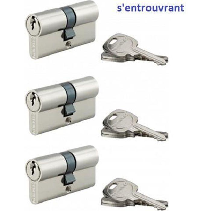 Cylindre de serrure /à bouton Standard 40X40 nickl/é 3CL Thirard