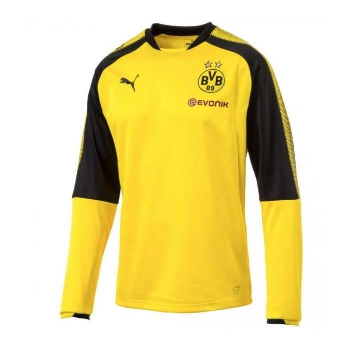 Sweat exterieur jaune col rond Borussia Dortmund 2017 2018 Puma