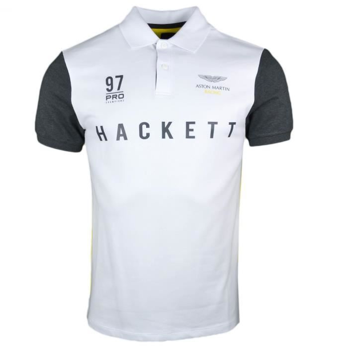Polo piqué Hackett blanc jaune et gris Aston