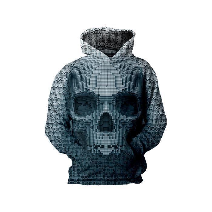 Cool Crâne d/'impression 3D Hommes Femme Sweat à Capuche Sweat Pull Pull Sweat à capuche Manteau Tops