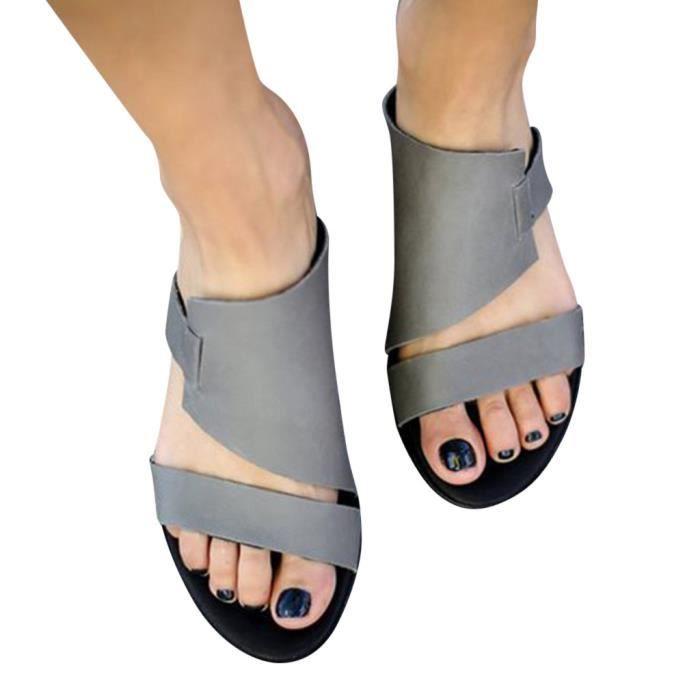 Retro Femmes orteils Flats Chaussures Chaussures de Romaines Cheville plage romaine Chaussons_bub345