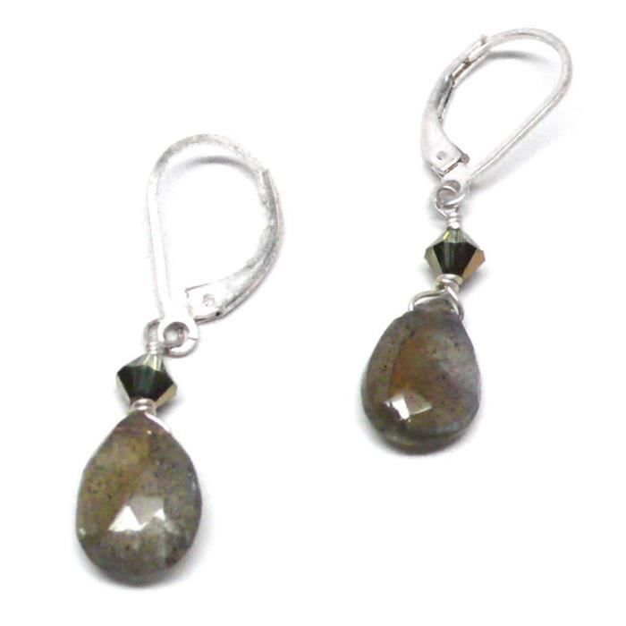 Womens Labradorite 10x8mm Briolette Gold-filled Lever Back Earrings Swarovski Crystal QAS34