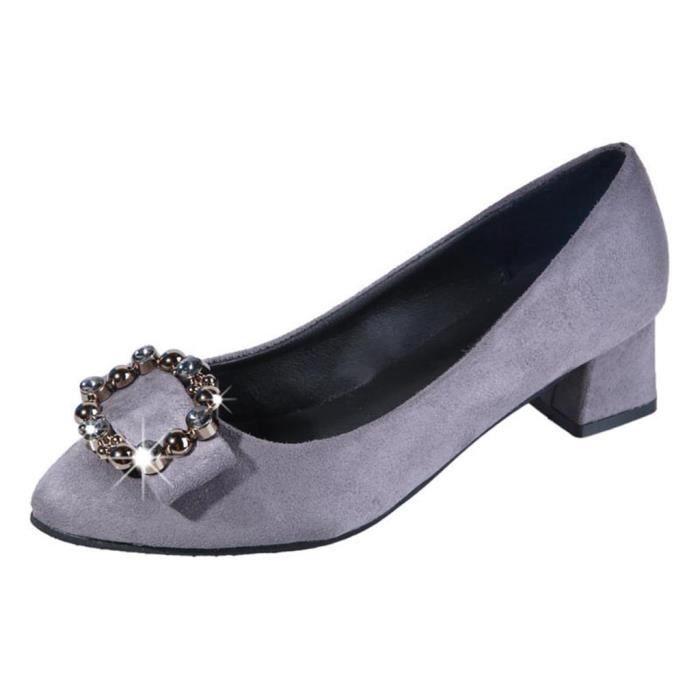 Femmes Mode Femmes Cristal place Talon Slip Casual Sur Mocassins Chaussures simples gris