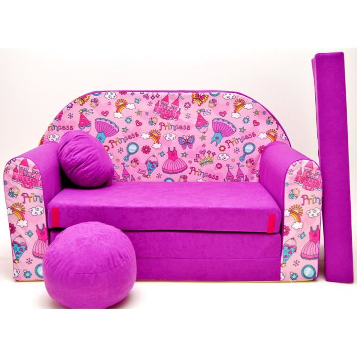 Canape sofa enfant 2 places convertible princesse fuchsia - Canape enfant places ...