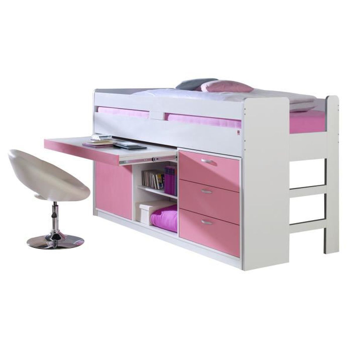 lit mi hauteur combin 90x200 cm avec 3 tiroirs 1 commode et un bureau coloris rose et blanc. Black Bedroom Furniture Sets. Home Design Ideas
