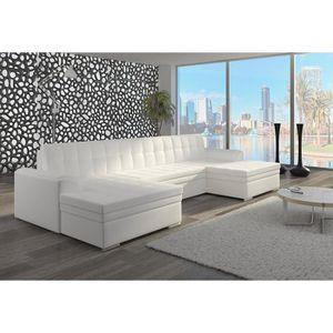 CANAPÉ - SOFA - DIVAN Canapé d'angle panoramique convertible blanc ou no
