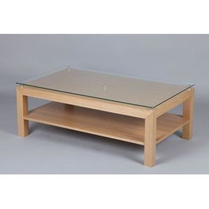 Table basse plaquee chene achat vente table basse - Plaque de verre pour table basse ...
