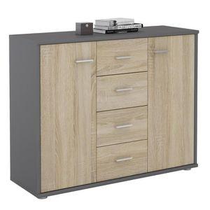 COMMODE DE CHAMBRE Buffet ELODIE, commode meuble de rangement avec 4